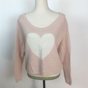 Victoria's Secret Pink White Cropped Heart Sweater